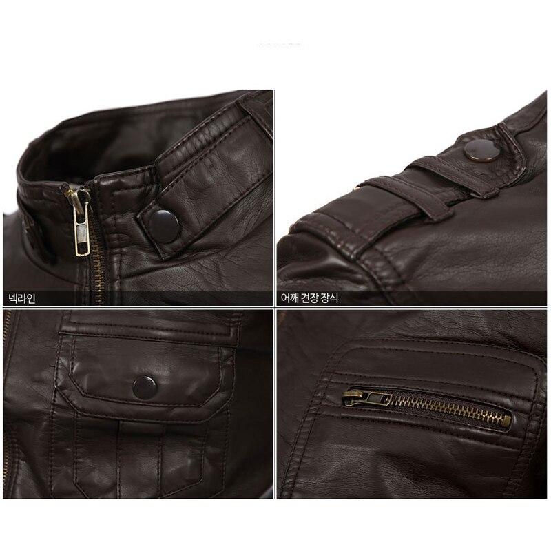 2018 nouveau Style russe hommes Zipper veste en cuir et manteaux Slim Fit homme moto Avirex vestes en cuir hommes vêtements S2156 - 4