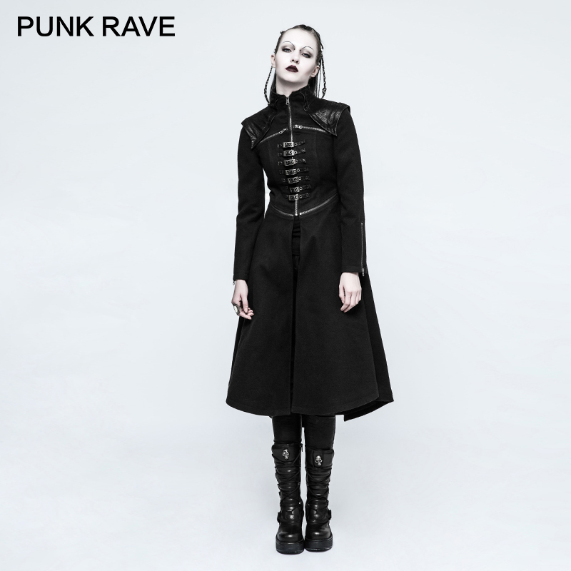 PUNK RAVE Punk Winter Uniform Asymmetric Buckle Worsted Military Black Fitted Long Coats Wool Blends Snap Button Ladies Jackets