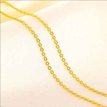 New Pure Solid 999 24K Yellow Gold Chain Women's O Link Necklace 3-3.5g 16.5inch 2