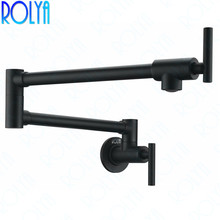 Single Cold Pot Filler Tap Wall Mounted Kitchen Faucet Chrome Nickel Brushed / Alba Black 2016 Wholesale New Arrival 2016 new arrival black