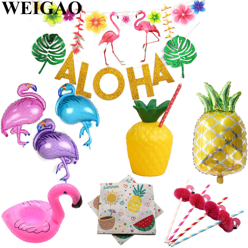 Weigao Flamingo Birthday Decorations Pineapple Banner Garlands Summer Aloha Beach Pool Flamingo Theme Supplies Pineapple Cups Festive & Party Supplies