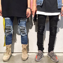 2017 fashion High Quality destroyed jeans hole casual pants ankle cool blue jogger damage jeans rock star skinny ruched jeans