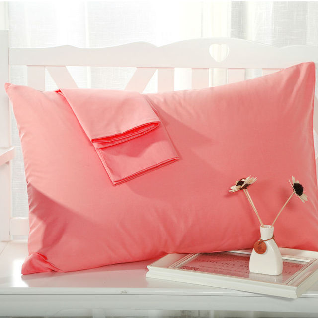 2pcs/Lot solid color Pillow Cover cotton Standard Pillowcase 48*74cm single bedding Pillow Case