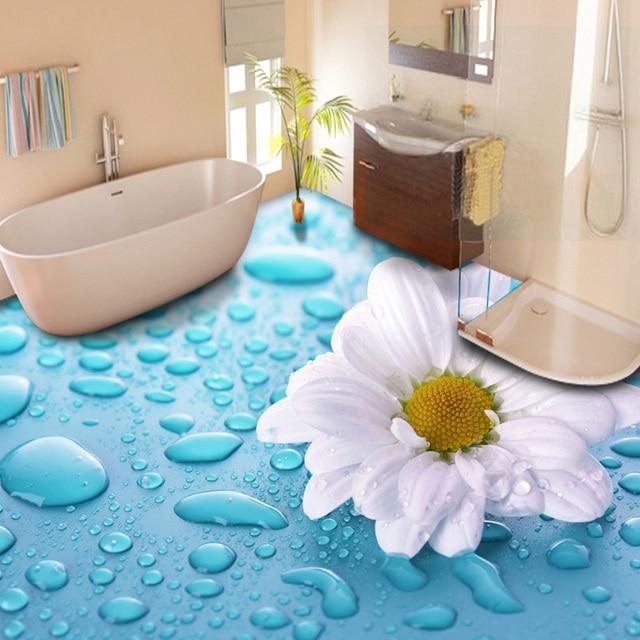 US $14.63 50% OFF|Moderne Pastoralen Blumen 3D Bodenbelag Wandbild Foto  Tapete Badezimmer PVC Selbst Klebstoff Wasserdicht 3D Boden Aufkleber Papel  De ...