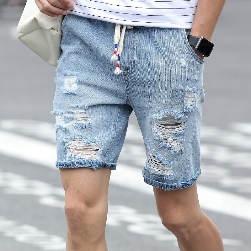 Online Shop Mens Denim Shorts Slim Regular Casual Knee Length ...