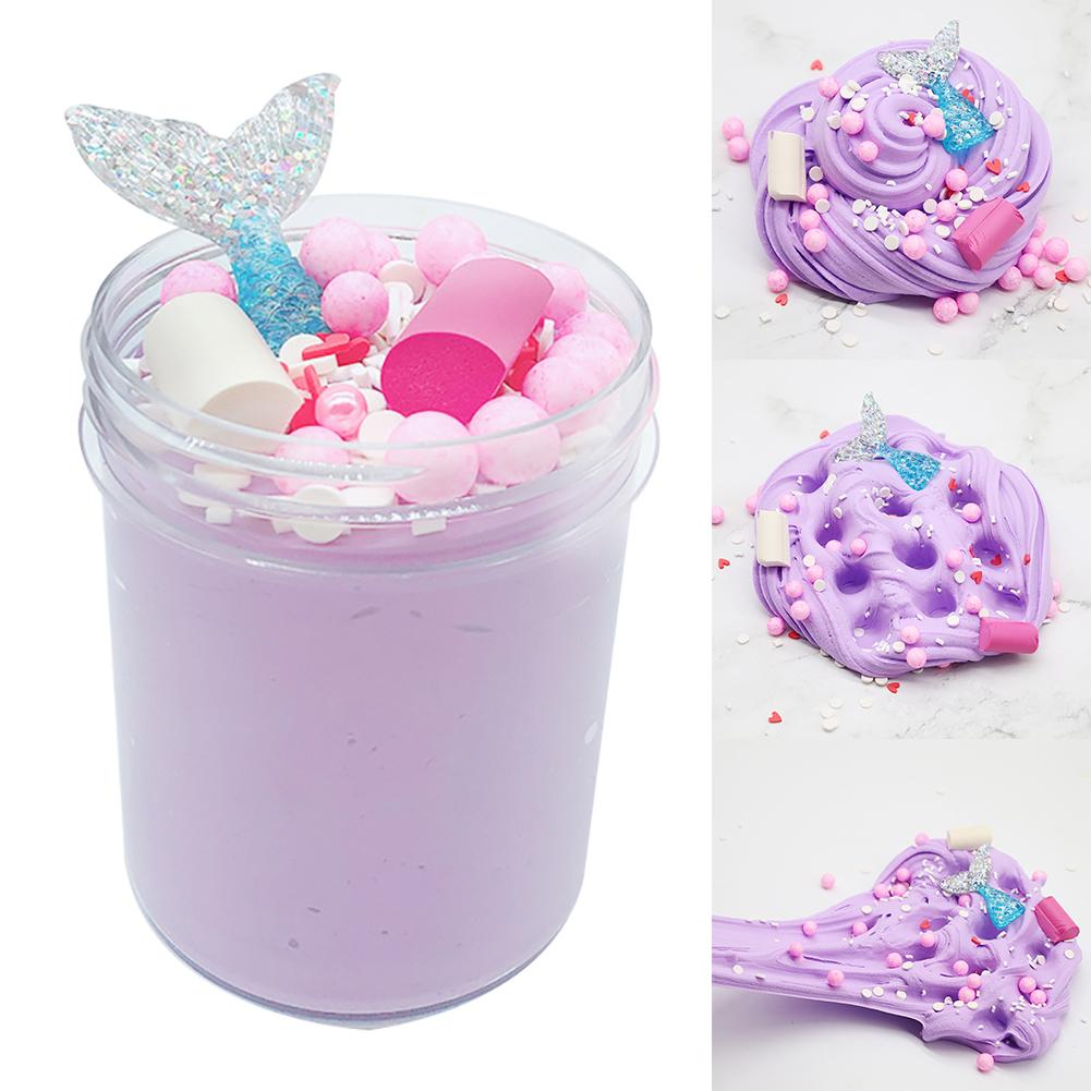 120ml Crystal Slime Putty Mermaid Fairy Clay Soft Squishies Stress Reliever Toy 2019