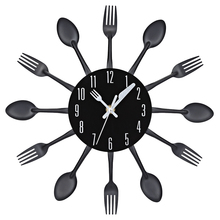 цена на Decor Creative Metal Wallclock Spoon Fork Cutlery Quartz Wall Durable And Modern Home Decoration Decorative Horloge Murale