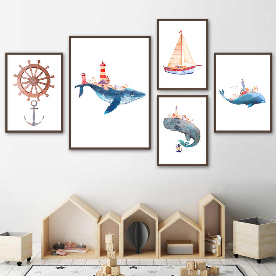 Nordic Watercolor Canvas Painting Wall Art Posters And Prints Whale Sailboat Rudder Wall Pictures Baby Girl Kids Bedroom Decor