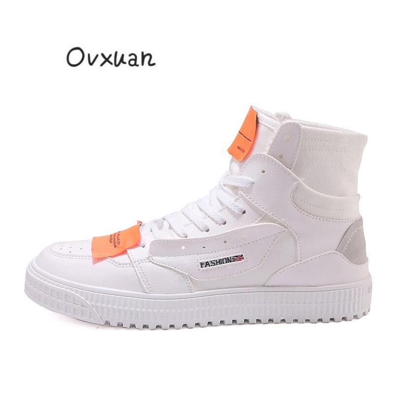 OVXUAN 2019 bande couture rue danse baskets haute mocassins chaussures plates pour homme Hip Hop mocassins décontracté mâle Skateboard chaussures pour hommes