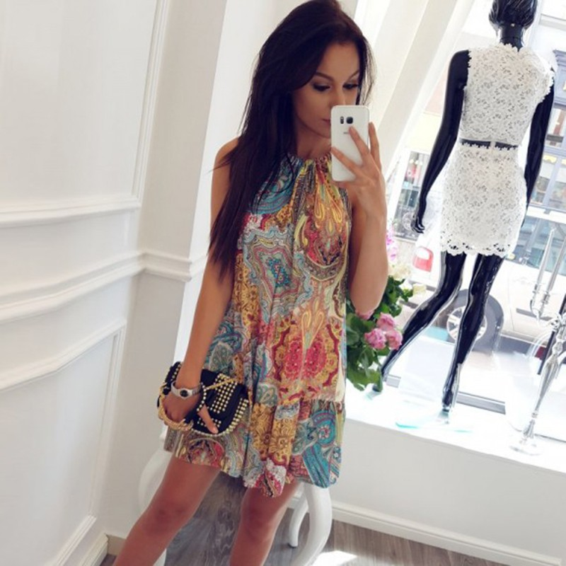 2018 Summer Ocean Wind Print Beach Dress Beach Cover Up Beach Wear Robe De Plage Beachwear Saida De Praia Cover Up Cloths tie back leaf tribal print beach dress