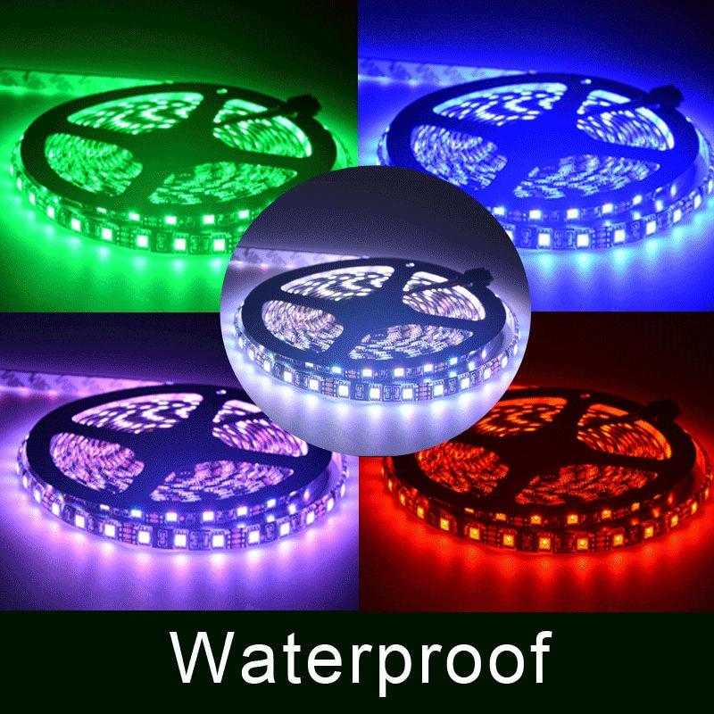 Zwart licht LED Strip 5050 60LED / M IP65 IP20 Waterdichte Verlichting Diode Tape 12 V 5 M / roll achtergrond Tape Wit Blauw RGB Lint