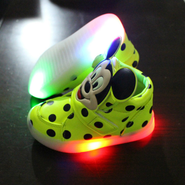 2016 latest fall boy's  LED shoes light-emitting mickey cartoon student  sneakers