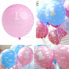 A96 20Pcs Baby 1st First Birthday Ballons Girl Boy Printed Number 1 Party Decoration