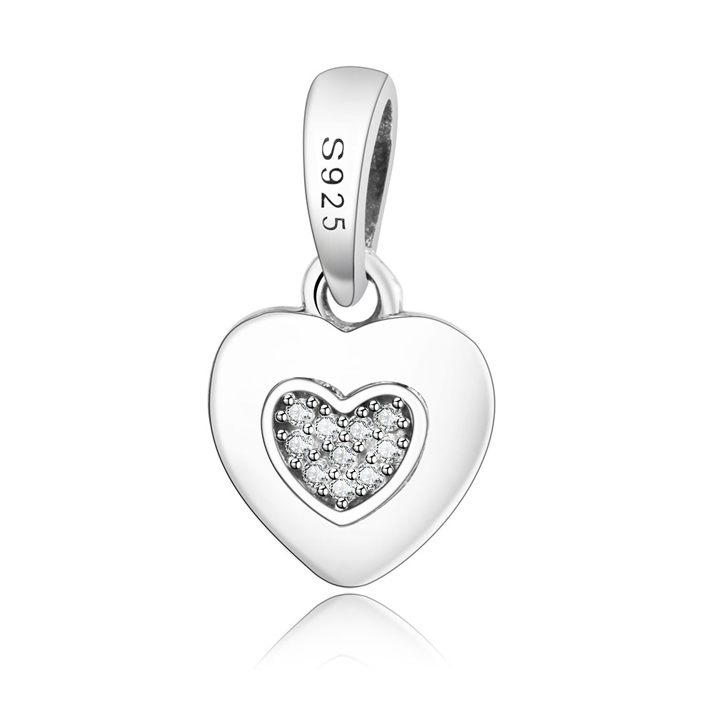 Authentic 925 Sterling Silver Heart Dangle Charm With Clear CZ Fit Original Pandora Bracelet Pendants Jewelry Making DIY Gift