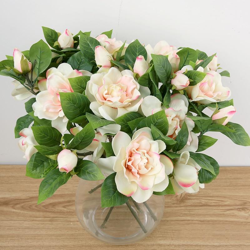 10 Pcs New Wedding Bouquet Bunch Fake Gardenias Camellia Elegance  Artificial Flowers Home Decoration Top Craft