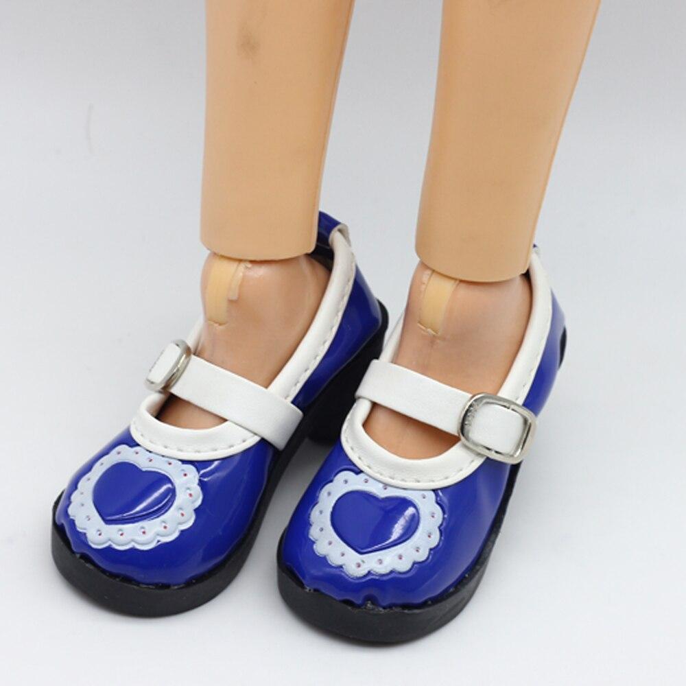 Pembe Mavi Siyah 1 ADET PU Deri Kalp Ayakkabı BJD SD DOD doll Fit - Bebekler ve Aksesuarlar - Fotoğraf 6