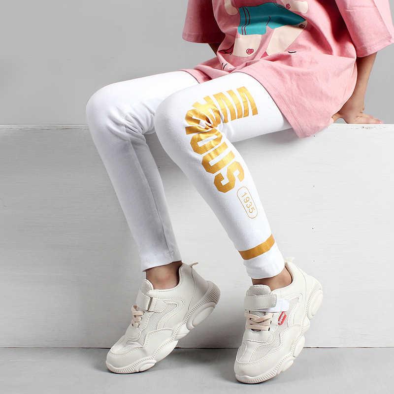 女の子レギンス 10 12 年十代の少女の綿パンツファッションの黄金プリント黒キッズスポーツズボン春秋学生底