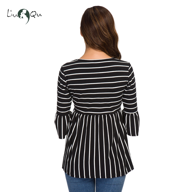Ruffle Maternity Tops Loose Pregnancy Blouse Striped T-shirt Tunic 3 Quarter Casual Maternity Clothes Pregnant Womens Clothing 4