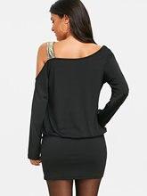 Cold Shoulder Black Bodycon Dress Long Sleeve Autumn Sequins
