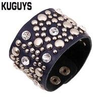 KUGUYS Rhinestone Rivet Wide Leather Belt Warp Bracelets Women Men Fashion Jewelry Black Adjustable Bangles Accessories