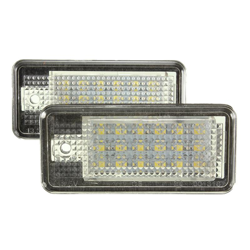 New coming 2piece/lot  White Car Error 18 LED License Number Plate Light Lamp For Audi A3 S3 A4 S4 B6 B7 A6 S6 A8 Q7 for audi a4 2004 number plate light white led bulb c5w 39mm 3 led canbus error free