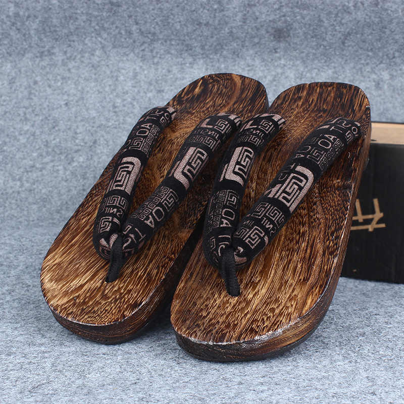 e55f7ce8e78c ... WHOHOLL Geta 2018 Summer Sandals Men Flat Round toe Japan Wooden Shoes  Clogs Slippers Flip- ...