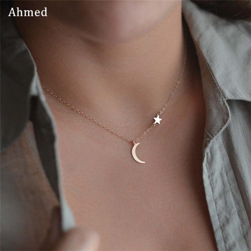 Ahmed Simple étoile & lune pendentif Collier pour femmes nouveau Bijoux Maxi déclaration colliers Collier Bijoux de mode