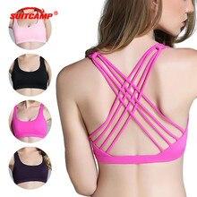 Woman Sports Bra Push Up Active Wear Tops for Women Gym Pink Brassiere Sport Criss Cross Crop Top Female Yoga