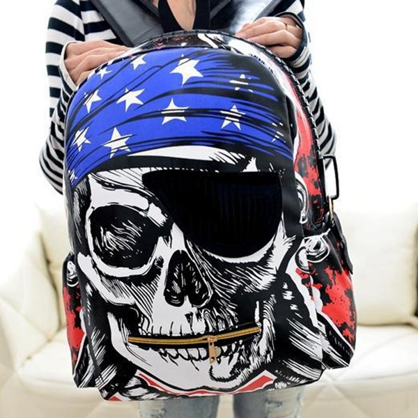 Longmiao Male Backpacks Skull Cartoon Printing Men Backpack Street Punk Kpop Bag Skull Backpack School Bags For Teenagers