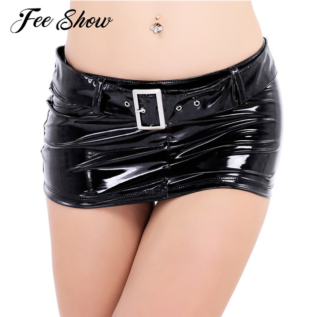 New Fashion Women Skirt Wetlook Patent Leather Low Rise Short Mini Skirt with Waist Belt Pencil Evening Party Nightwear Clubwear