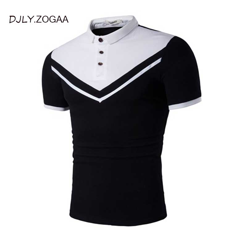 ZOGAA Brand Clothing Black & white Men   Polo   Shirt Business & Casual Solid buttons Short Sleeve Breathable Slim Fit