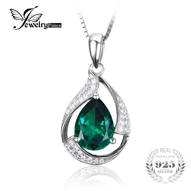 Jewelrypalace 3.5 ct nano russo emerald gem stone colares pingente genuine pure 925 jóias de prata esterlina sem cadeia