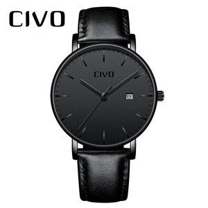 Image 1 - Модные повседневные мужские часы CIVO, ультратонкие минималистичные водонепроницаемые кварцевые наручные часы с датой для мужчин, черные часы из натуральной кожи