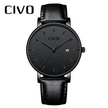 Fashion Casual Men Watch CIVO Ultra Thin Minimalist Waterproof Date Quartz Wrist Watch For Men Black Genuine Leather Watch Clock