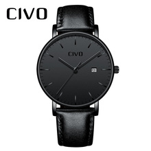 Fashion Casual Men Watch CIVO Ultra Thin Minimalist Waterproof Date Quartz Wrist