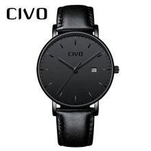Orologio da uomo Casual alla moda CIVO orologio da polso al quarzo con data impermeabile minimalista Ultra sottile per uomo orologio da polso in vera pelle nera