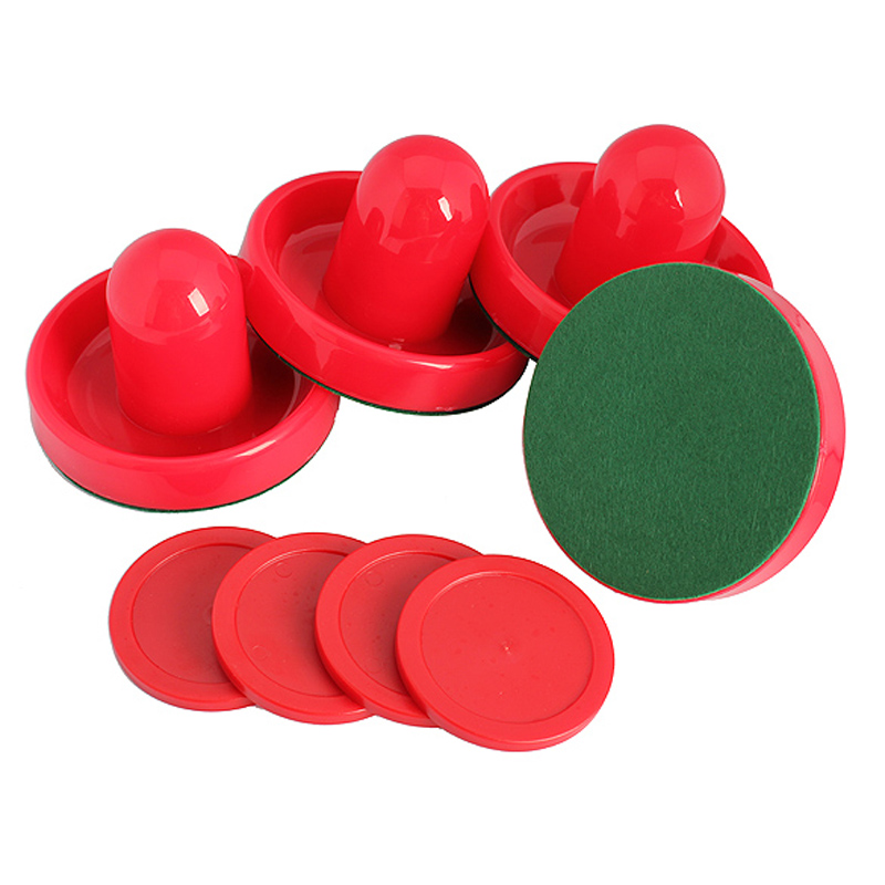 4Pcs Air Hockey Table Goalies with 4pcs Puck Felt Pusher Mallet Grip Table Hocky Sports Equipment Accessories