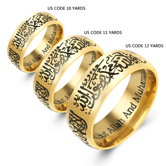 8ffbb3630d661 US $1.91 20% OFF Punk Muslim Allah Shahada Gold Rings for Women Men Jewelry  islam Arabic God Messager Muhammad God Quran Middle Eastern Ring-in Rings  ...