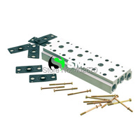 Free Shipping 4V410 15 Pneumatic Solenoid Valve Manifold Base Board With Screws Gasket 400M 6F 6 Stations