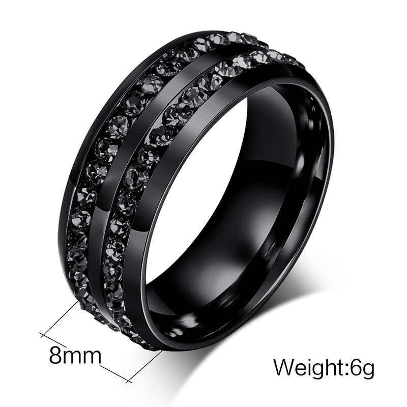 أسود كريستال خواتم للنساء الفولاذ المقاوم للصدأ حجر الراين خاتم الزواج الولايات المتحدة حجم 6-12