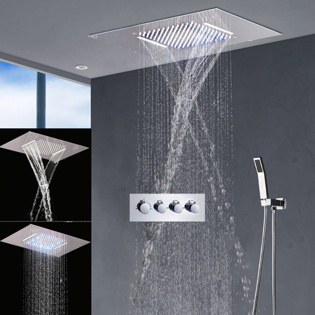Modern Bathroom Fixtures Led Shower Set Rain Head Waterfall Bath Faucets With 3 Way Thermostatic Mixer Valveus 1 208 52