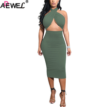 ADEWEL 2019 Women Sexy Two Piece Skirt Outfits Set Criss Cross Top Bandage Dress Halter Sleeveless High Waist Bodycon Midi Skirt цена 2017