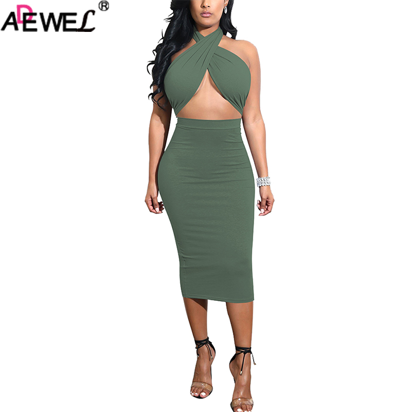 Adewel 2018 Women Sexy Two Piece Skirt Outfits Set Criss Cross Top Bandage Dress Halter Sleeveless High Waist Bodycon Midi Skirt