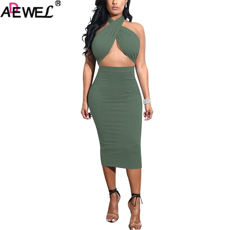 Adewel 2018 femmes Sexy deux pièces jupe tenues ensemble Criss croix haut robe de pansement licou sans manches taille haute moulante jupe Midi