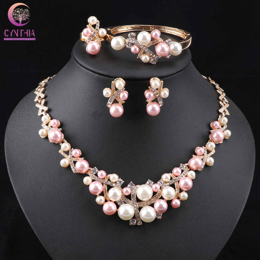 New Arrival Gold color Crystal Colorful Pearl Necklace Jewelry Set Women Imitation Wedding Fashion Pearl Jewelry WB-2001