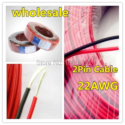 100 м/лот, красный Черный 2pin Провода, 22awg ПВХ Луженая Медь Изолированный Провод, удлинитель Электрический Кабель