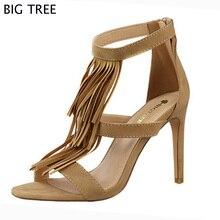 Bigtree Новинка 2017 года модные сандалии Для женщин летние Обувь на высоком каблуке замшевые ssexy ночной клуб кисточкой Сандалии женская обувь 48 txj