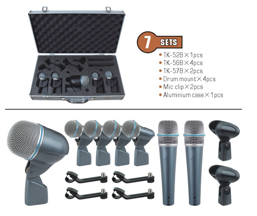 7 sets drum mic kit portable case top quality drum microphones in microphones from consumer. Black Bedroom Furniture Sets. Home Design Ideas