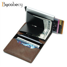 Bycobecy Antitheft Men business creditcard holder Blocking Rfid Wallet Leather Unisex Security Information Aluminum Metal Purse