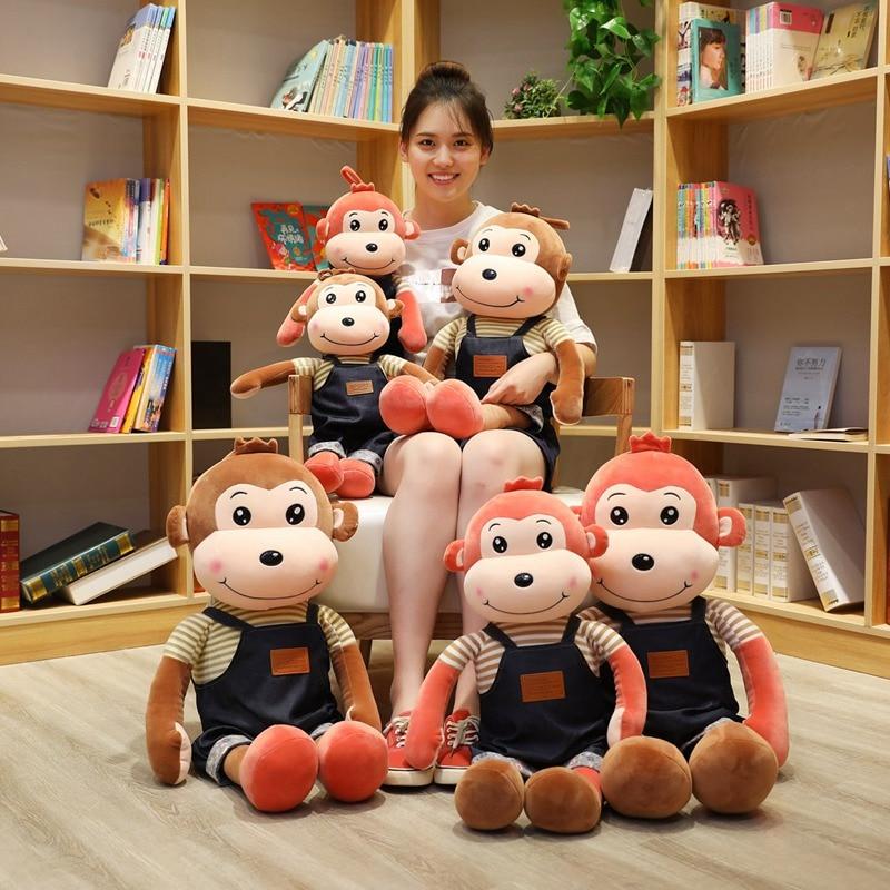 New 1pc 60-90cm Lovely Cartoon Monkey  Strap Pants Monkey Cotton Plush Toy Very Soft Doll Throw Pillow Birthday Gift Christmas
